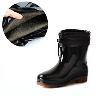 回力男士中短筒低帮加绒保暖雨鞋雨靴胶鞋套鞋防水鞋 557 黑色加绒可拆 43 建议拍大一码