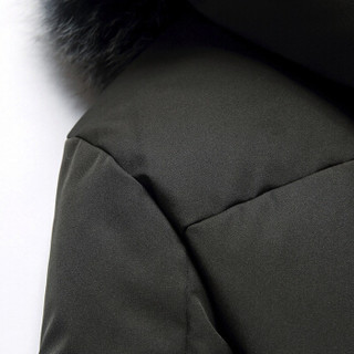 鸭鸭(YAYA)羽绒服男2019秋冬新款中长款90%白鸭绒青年男士毛领连帽外套 YR9602 黑色 185/XXL
