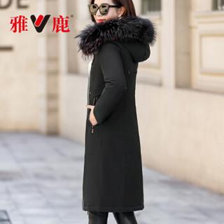 雅鹿 YT6615080 新款时尚大毛领两面穿派克羽绒服女中长款过膝外套 双面穿黑色+红色 L