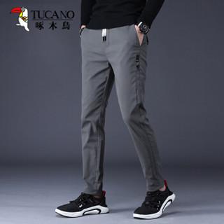 啄木鸟(TUCANO)休闲裤男2019秋季新款时尚弹力直筒百搭男裤子 灰色 30