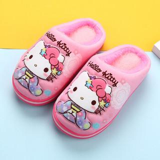 Hello Kitty 儿童棉拖鞋 凯蒂猫女童卡通舒适软底防滑保暖棉鞋   中童粉色210码 1775