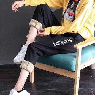 凡淑 加绒裤子女2019冬季新品加厚仿羊羔绒运动裤保暖棉裤休闲裤小脚哈伦裤 LLJYA11FS 黑色 XL