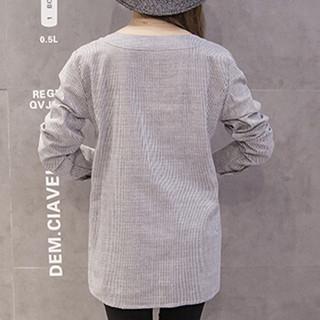 MAX WAY 女装 2019秋冬装新款孕妇装时尚刺绣圆领孕妇T恤孕妇条纹上衣 QDmw062 灰蓝色条纹 L