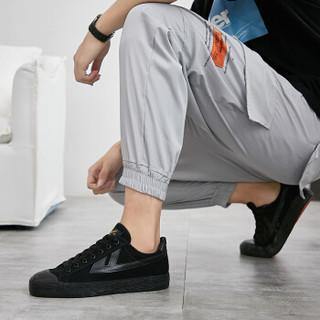 回力 Warrior 帆布男女情侣款休闲复古经典运动鞋 WB-1 金奖黑色 43(偏大一码)