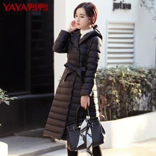 鸭鸭(YAYA)羽绒服女中长款连帽过膝时尚韩版潮修身羽绒服 B-5749 炭灰 155