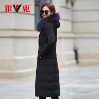 雅鹿 YT6611180 中长款羽绒服女连帽修身大码外套 黑色 XL