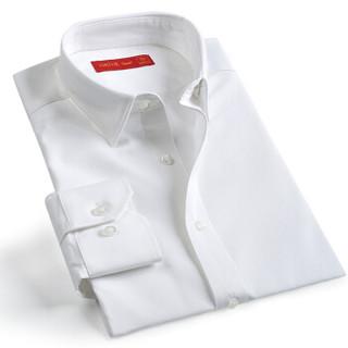 富绅Virtue 斯文细条纹男免烫长袖白衬衫 YCF20322582 白色 40(170/92)