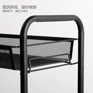 溢彩年华 YCI1056-BK 蜂巢冈篮推车 三层 磨砂黑