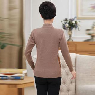 俞兆林 2019秋季新款中年女装格子毛衣中老年妈妈装半高领套头针织衫上衣YTZZ197233卡其色均码