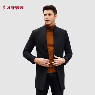 才子(TRIES)大衣男 2019冬季新款羊毛呢中式立领长款风衣 挺括保暖39197E0371 黑色 52(180/96Y)