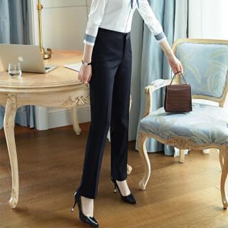 特洛曼职业装西裤女春夏直筒通勤修身面试工装正装工作裤子2001 XL