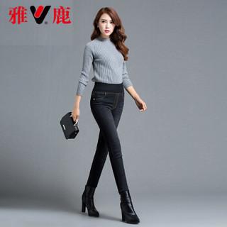 雅鹿 YS6102270 羽绒裤女新款高腰显瘦加厚牛仔裤外穿修身冬季白鸭绒 黑色 L