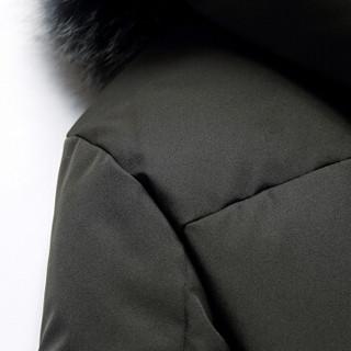 鸭鸭(YAYA)羽绒服男2019秋冬新款中长款90%白鸭绒青年男士毛领连帽外套 YR9602 墨绿 175/L
