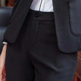初申 西裤女2019秋季新款休闲裤女职业裤子女士正装裤 SWKX197112 黑色 L