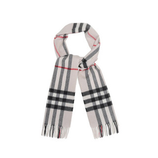 BURBERRY 巴宝莉 男女通用款石色格纹山羊绒围巾 80155331