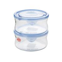 怡万家iwaki耐热玻璃保鲜盒微波炉饭盒冰箱保鲜收纳盒 圆形380ml*2
