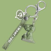 TaTanice 钥匙扣几何钥匙链创意卡通钥匙挂件汽车钥匙圈背包挂饰生日礼物情人节礼物送女友 绿恐龙Tjh01