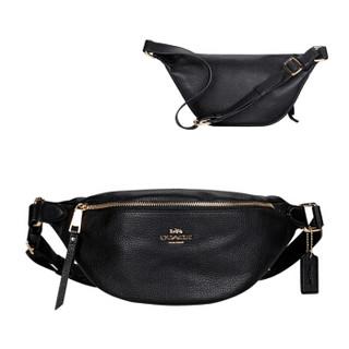 COACH 蔻驰 奢侈品 女士黑色皮革腰包 F48738 IMBLK