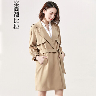 尚都比拉(Sentubila)   2019风衣女中长款系带显瘦九分灯笼袖外套  P81F0290111 杏色 M