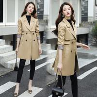 丽乔 风衣女中长款2019秋季女装新品韩版修身显瘦气质流行外套潮 yzLXYG9068 卡其色 XL