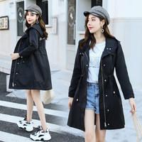 BANDALY 2019秋季新品女装风衣女流行英伦风小个子韩版宽松大衣 GZZXLL9807 黑色 S