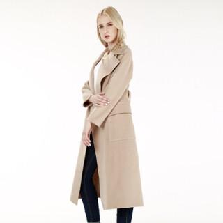 京造 女士纯羊毛长款毛呢大衣 毛呢外套女 双面毛呢大衣女外套  米色 L 170/90A