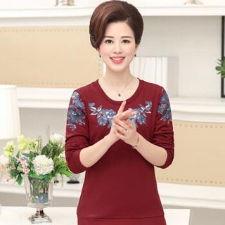 俞兆林 2019年秋季新款中老年女装运动套装大码长袖t恤妈妈装上衣裤子两件套 YWMM197236 红色 XL