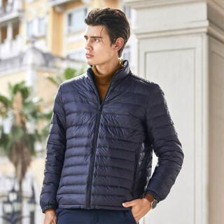 坦博尔秋冬新款男士羽绒服男时尚轻薄修身立领短款外套90%鸭绒 深蔚蓝 180/96A