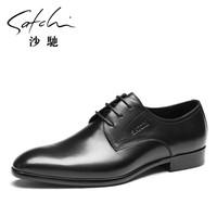 沙驰 时尚尖头黑色系带男士商务正装皮鞋  40941042Z 黑色 41