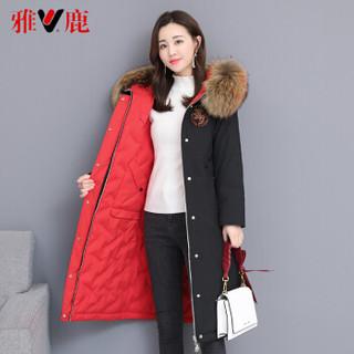雅鹿 YT6615080 新款时尚大毛领两面穿派克羽绒服女中长款过膝外套 双面穿黑色+红色 M