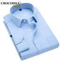 鳄鱼恤(CROCODILE)长袖衬衫 男士2019秋季时尚潮流休闲纯色上衣 2002-G80 K09蓝 42/3XL