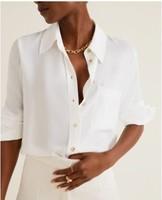 MANGO 芒果 51013711 绉绸面料白衬衫