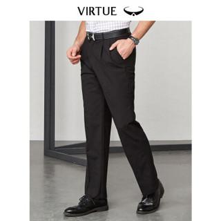 富绅Virtue 西裤男宽松双褶直筒商务正装长裤 YKM30221 黑色平纹双褶 92