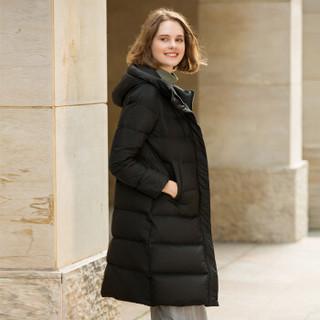 坦博尔2019新款羽绒服女长款连帽90%鸭绒时尚女士厚外套TD19158 黑色 180/100A