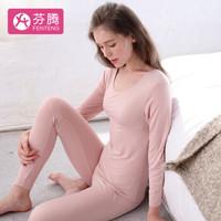 芬腾 内衣女士保暖内衣纯色休闲圆领套头睡衣套装J9538565 藕粉 M