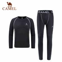 CAMEL骆驼运动健身套装 男款运动跑步透气休闲针织两件套