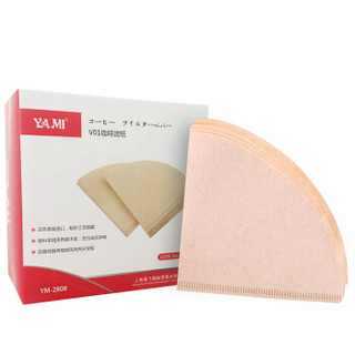 亚米(Yami)日本进口咖啡V01扇形滤纸原木便携滴漏式手冲咖啡过滤网 YM2808 1-2人份100枚