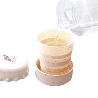 耶洛谜折叠水杯户外旅行伸缩杯 小麦秸秆可伸缩杯子旅游便携折叠杯子学生多功能洗漱杯 YM19颜色随机