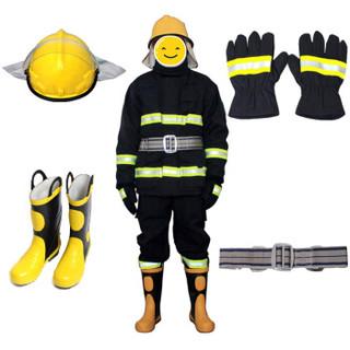 腾驰 3C认证消防服套装 14款消防员灭火防护服防护衣服头套战斗服强检消防服五件套XL(165-175cm)41码鞋