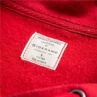 佐丹奴(Giordano) 卫衣 佐丹奴(Giordano)女装 T恤字母刺绣宽松连帽套头卫衣05399780 54一串红色 中码