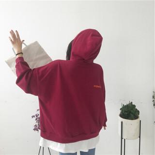 朗悦女装 2019秋季新款纯色连帽卫衣女学生韩版宽松长袖上衣T恤潮 LWWY197210 红色 M/均码