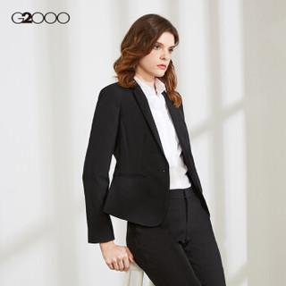 G2000女装商务优雅西装外套女长袖女装 标准单扣短款女士西服00710001 黑色/99 38/170
