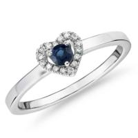 Blue Nile 14k白金 小巧藍寶石與鉆石密釘心形戒指(3毫米)