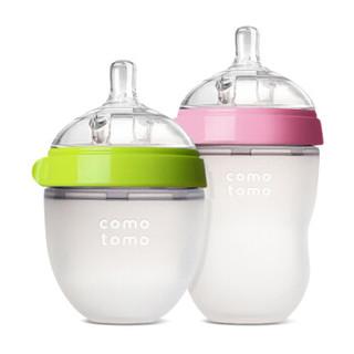 comotomo 可么多么 硅胶奶瓶对装 绿150ml+粉250ml 奶嘴0月+/3月+