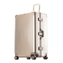 PointKid 铝框拉杆箱运动版男女万向轮32英寸旅行箱加厚款大容量行李箱密码箱包 1701香槟金