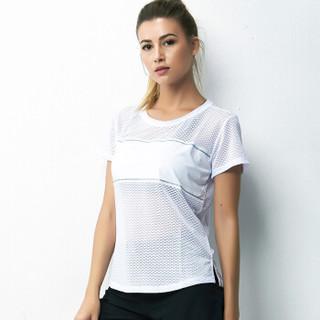 范迪慕 瑜伽服女上衣 新款T恤 吸汗透气运动健身服速干衣 FDM20292-白色-单件短袖-S