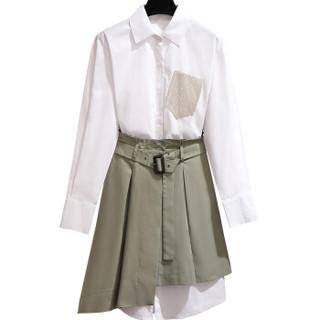 维迩旎 2019秋季新款女装白色衬衫长袖连衣裙流行裙子套装两件套 zx5510-5589 白色 M