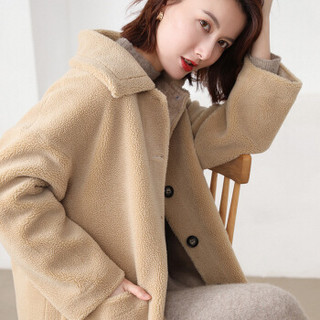 维迩旎 2019秋季新品女装毛呢大衣女时髦颗粒绒羊剪绒大衣皮毛一体外套中长款 GZHB999660 豆绿色 XXL