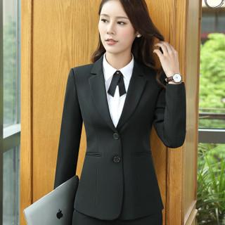 特洛曼小西装外套女职业装女装套装正装工装酒店工作服西服二粒扣 HYN6803 4XL