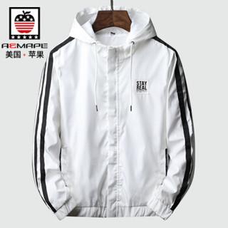 AEMAPE/美国苹果 夹克外套男短款秋装韩版潮流修身帅气休闲青年男装 J53白色 2XL
